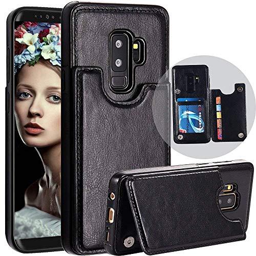 Galaxy S9 Wallet Back Case, Spritech Durable Folio Flip Leather Back Wallet Case met Credit Card Houder Opvouwbare Stand Magnetische Sluiting Schokbestendige Beschermhoes voor Samsung Galaxy S9 Zwart
