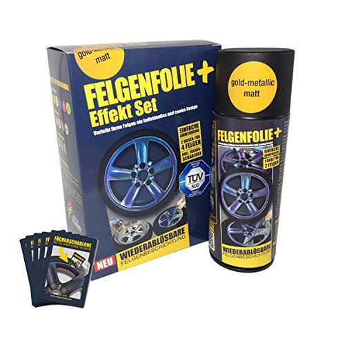 mibenco 71000028 FELGENFOLIE+ Effekt Set, 2 x 400 ml, Gold-Metallic - Flüssiggummi Spray / Sprühfolie - Neue Effekt-Farbe und Schutz zum Felgen lackieren