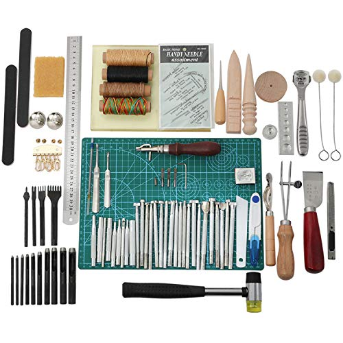 ouying1418 Leather Craft Edge Press Kit Adjustable Leather Stitching Groover Crease Tool