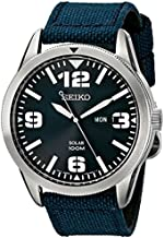 Seiko Men's SNE329 Sport Solar-Powered Stainless Steel Watch with Blue Nylon Band