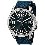 Fashion Shopping Seiko Men's SNE329 Sport Solar-Powered Stainless Steel Watch with Blue Nylon