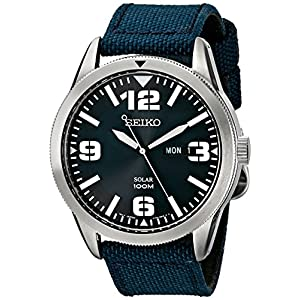 Fashion Shopping Seiko Men's SNE329 Sport Solar-Powered Stainless Steel Watch with Blue Nylon Band