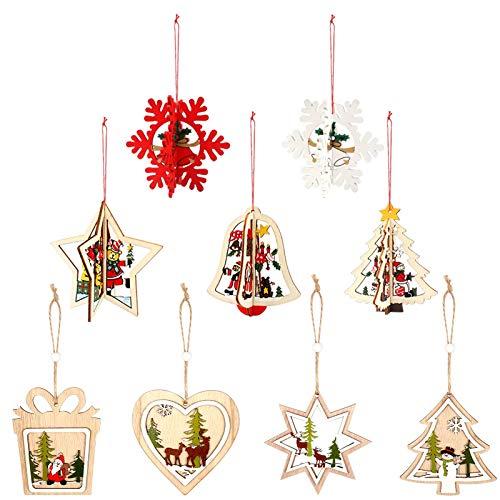 Huahao Weihnachtsanhänger Christbaumschmuck Holz Dekoration 9 Stücke 3D Holz Weihnachtsdeko Anhänger Holz Weihnachtsbaum Anhänger für Weihnachten Party Dekoration