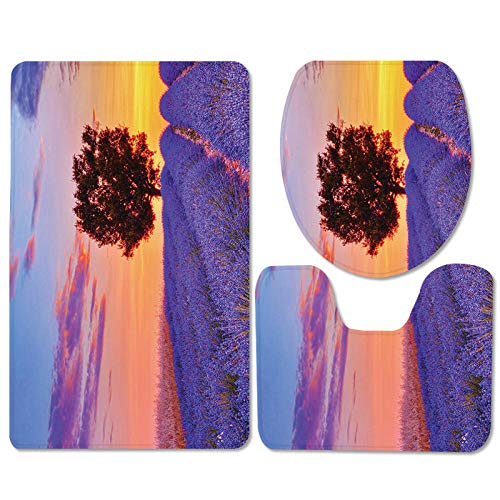 IRCATH Panor de Lavanda púrpura Patrón de Globo Caliente con Deslizamiento elástico Moderno de Tres Piezas Almohadilla-C2 Alfombra de Ducha con Espuma de Memoria de baño de Secado rápido