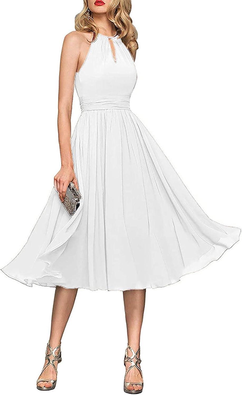 Women's Halter Chiffon Bridesmaid Dresses Short Homecoming Dress Prom Gown