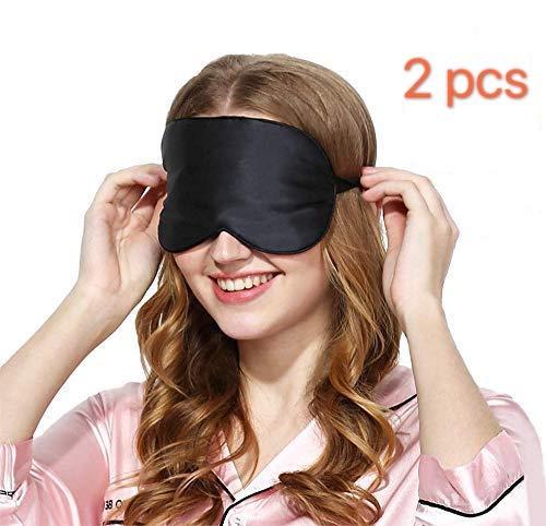 Viedouce Schlafmaske Seide Augenmaske,100{35bdf94b7f786d42ed9ec0ed6c1339fde74ef3184e77382b0134d2661aec9b24} Hautfreundlich Seide Schlafmaske Frauen und Herren, Angenehme Schlafmaske Ideal für Schlaf zu Hause und Auf Reisen(2 Pack- Schwarz)