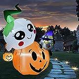 COMIN 6-Foot Halloween Inflatable Blow Up Pumpkin with Spirit Black Cat on Top with LED Built-in, Halloween Decoration Indoor/Outdoor, Yard, Garden, Patio, Lawn Halloween Blow Up Décor