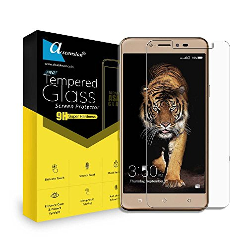 Ascension ® Curve Tempered Gorilla Glass Screen Protector High 9H Hard 2.5D Ultra Clear for Gionee A1 Lite Transparent (Set of 2)