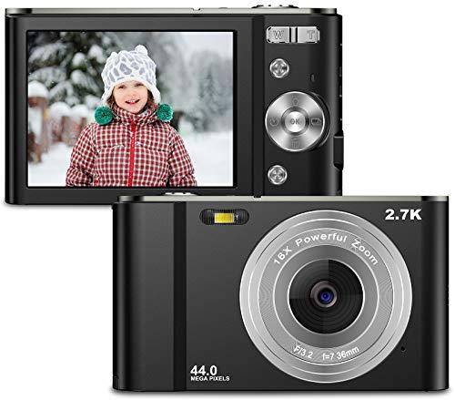 Compactas Cámaras Digitales 2,88 Pulgadas 2.7K 44Megapíxeles HD Camara Fotos Recargable Cámara para de Bolsillo Cámar as Digitales con Zoom 16X Camara Compacta para Principiantes, Niños, Adolescentes