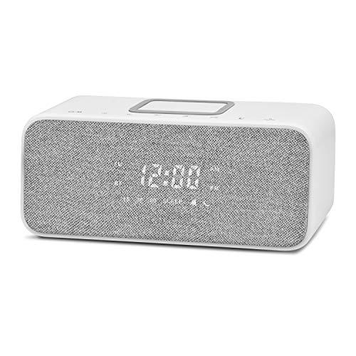 LEMEGA CR6 Radiowecker Digital mit USB-Ladegerät,Bluetooth Lautsprecher, FM Radio,Stereo Sound,QI Kabelloses Laden und dimmbares LED-Display,9 Natürlichen Klängen,Netzbetrieb– Weiß
