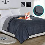 Softan Waterproof 100% Leak Proof Blanket for Baby Adults Pets Dogs Cats,Pee Proof,3 Layer Protector for Bed,Sofa and Couch,King/Queen:90'x90',Charcoal | Light Grey,Reversible Lightweight