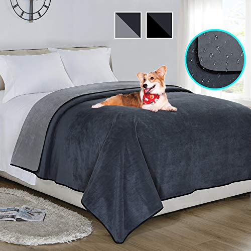 softan Waterproof 100% Leak Proof Blanket For Baby Adults Pets Dogs Cats,Pee Proof,3 Layer Protector for Bed,Sofa and Couch,King/Queen 230x230CM,Charcoal | Light Grey,Reversible Lightweight