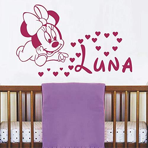Sanzangtang Muurstickers voor baby's, cartoon, muis, vinyl, zelfklevend, voor kinderkamer, personaliseerbaar, voor meisjes, jongens, wanddecoratie, cartoon