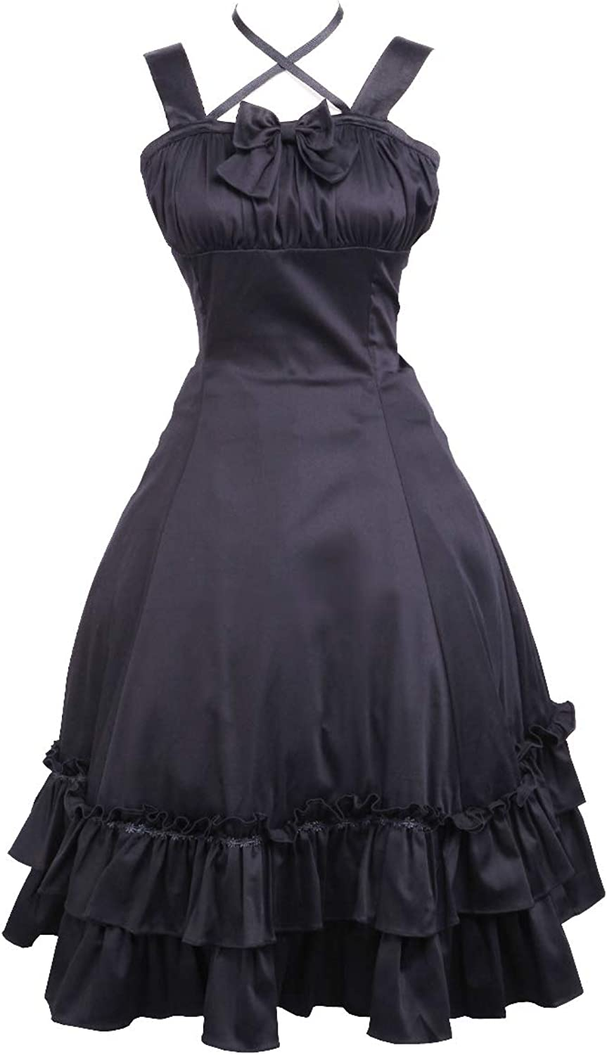 Antaina Black Cotton Halter Ruffle Bow Classic Gothic Lolita Cosplay Dress