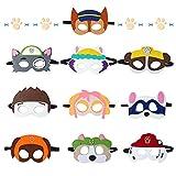 Sinwind Máscaras Niños, 10 Piezas Máscaras de Fieltro, Máscaras Paw Dog Patrol, Máscara Cosplay con Cuerda Elástica Máscaras para Bolsas de Fiesta, Fiesta cumpleaños, Navidad, Halloween Regalo