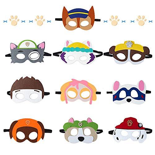Sinwind Máscaras Niños, 10 Piezas Máscaras de Fieltro, Máscaras Paw Dog Patrol,...