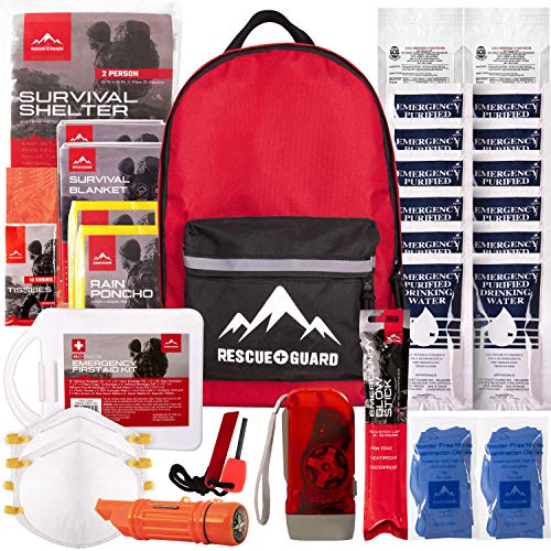 Rescue Guard First Aid Kit Hurricane Disaster or Earthquake Emergency Survival Bug Out Bag Supplies for Families - Up to 12 Day 72 Hours of Disaster Preparedness Supplies (Intermediate Survival Pack)