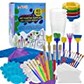 U.S. Art Supply 40-Piece Children's Art Painting Supplies and Accessories Kit - 25 Flat, Round, Foam Tipped Brushes, 4 No-Spill Paint Cups, 6 Palettes, 2 Kids Smocks, 3 Table Cloths - Fun School Craft