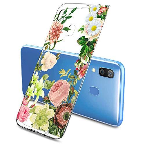 Suhctup Moda Coque Compatible pour Galaxy A7 2018/A750,Transparent Silicone TPU Souple Étui avec [Motif Fleur] Crystal Ultra Fine Shock-Absorption Antichoc Protection Housse Cover Case(Fleur 7)