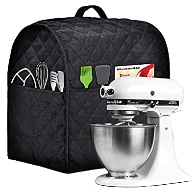 Stand Mixer Cover compatible with Kitchenaid Mixer, Fits All Tilt Head & Bowl Lift Models,The Fabric Is Pure Cottot,100% Cotton is Padded?Fine, Soft, Not Easy to Fade, Not Easy To Pilling. (Fits for 4.5-Quart and All 5-Quart, Black)