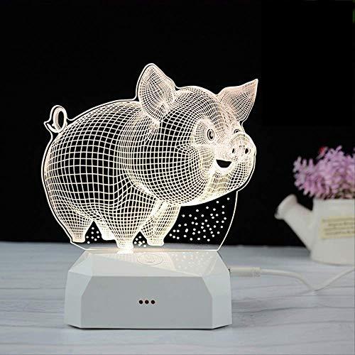 Usb Lade 3D Nachtlicht Kreatives Geschenk Cartoon Nacht Atmosphäre Led Tischlampe Acryl Nachtlicht Touch Drei Farben Finanzierung Schwein