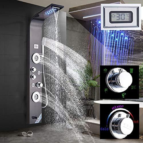 LED Duschpaneel aus rostfreiem Edelstahl mit Temperaturanzeige und 2 Massagefunktionen Farbe: Orb