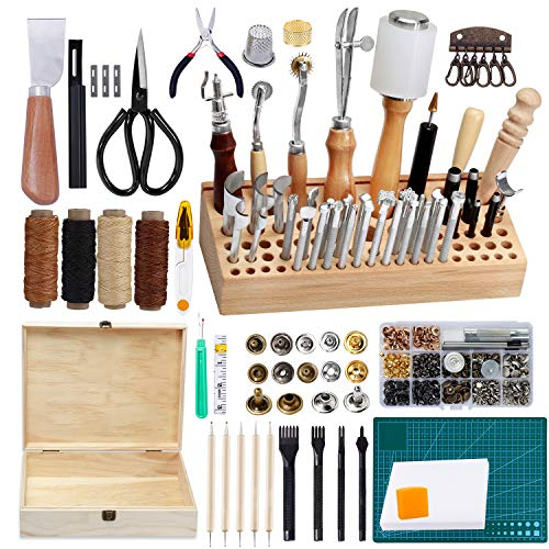 Jupean 458 Pieces Leather Kits, Leather Working Tools, Leathercraft Tools and Supplies with Instruction, Tool Holder, Leather Stamps Set, Prong Punch, Hole Hollow Punch for Leather Craft Working