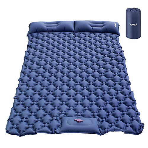 HOMCA Sleeping Pad for Camping, Hand or Foot Self Inflating Camping Mat Durable Waterproof Backpacking Sleeping Pad for Tent Hiking Camp Travel (Blue)