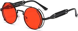 UKKD - Gafas De Sol Moda Redonda Steampunk Gafas De Sol Hombres Mujeres Vintage Gótico Metal Marco Gafas De Sol para Hombre Uv400-Black Red