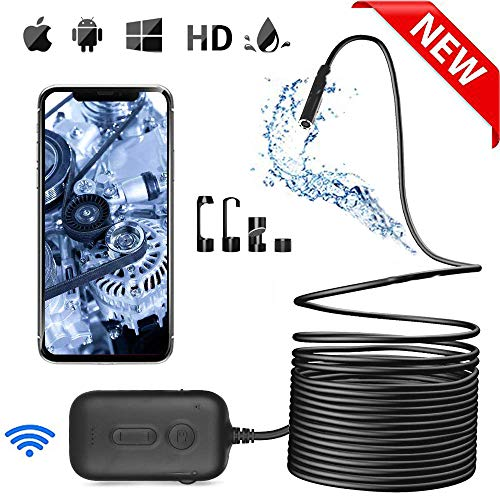 Colisal Endoskopkamera Mit Licht, 2.0MP HD Inspektionskamera 5.5MM Wasserdicht WiFi Endoskop Kamera, Rohrkamera, Endoskopkamera für Android iPhone(16.4FT / 5M)
