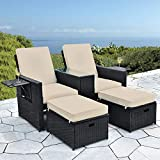 B BAIJIAWEI 5pcs Patio Wicker Loveseat - Outdoor Rattan Sofa Set with Cushion - Adjustable Lounge Chair with Ottoman Footrest, Wicker Furniture for Garden, Patio, Balcony, Beach, Coffee Bar, Deck