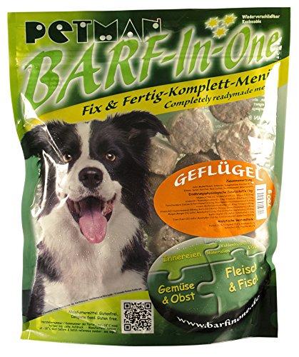 Petman BARF-in-One Geflügel, 6 x 750g-Beutel, Tiefkühlfutter, gesunde, natürliche Ernährung für Hunde, Hundefutter, BARF, B.A.R.F.