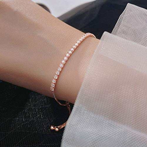 BENGKUI Women'S 925 Sterling Silver Bracelet,Fashion Sweet Dazzling Chain Bracelets For Women Wedding Fine Jewelry Charm Bracelets For Women Birthday Gifts For Mum Wife