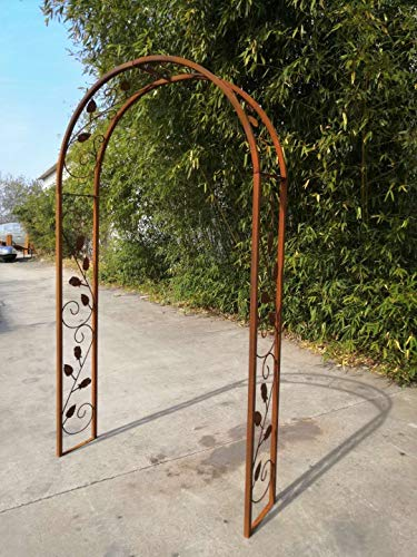 Zen Man Garten Rosenbogen Rost aus Metall Gartendeko Garten Rankhilfe Spalier Rost Rosenranken Handarbeit 120 * 30 * 220cm 031928-1
