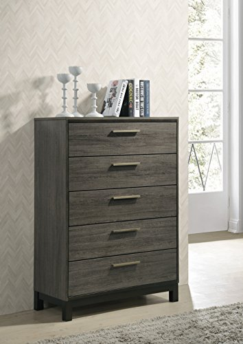 Roundhill Furniture Ioana 187 Antique Grey Finish Wood 5 Drawers Chest, Chest