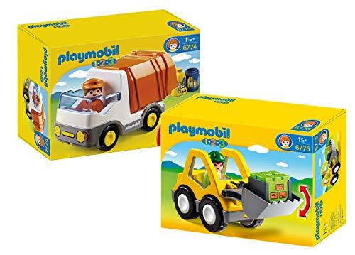 Playmobil 1-2-3 2er-Set: 6774 Müllauto + 6775 Radlader