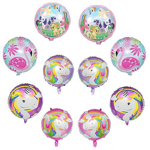 Decoraciones del partido del unicornio, potro Flamenco de la fiesta de cumpleaños decoraciones de globos, globos para la fiesta de cumpleaños de la ducha Bodas de bebé, juguetes para niños Kids (10PC)