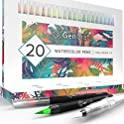 Set of 20 Premium Colors Watercolor Brush Pens by GenCrafts