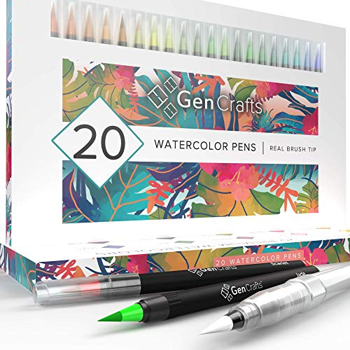 Watercolor Brush Pens by GenCrafts - Set of 20 Premium Colors - Real Brush Tips - No Mess Storage Case - Washable Nontoxic Markers - Portable Painting