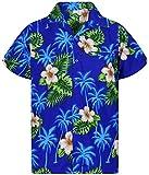 V.H.O. Funky Camicia Hawaiana, Small Flower, Darkblue, M