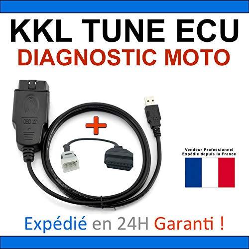 KKL - Maleta de diagnóstico especial para moto – Compatible con TUNE ECU DUCATI APRILIA KTM TUNEECU – Lectura, borrado defectos, programación de mapas (Interfaz KKL + adaptador Aprilia)