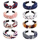 Paquete de 8 diademas anchas, con nudo, turbante, banda para el pelo, elásticas, lisas, accesorios para el cabello para mujeres y niñas