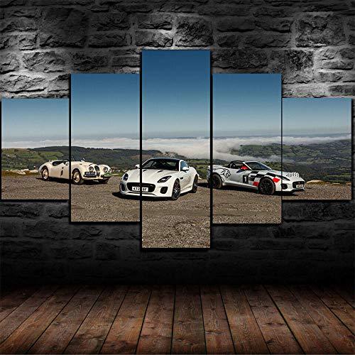 5 Piezas Cuadro sobre Lienzo De Fotos Coche de Rally Tipo F-Jaguar Lienzo Impresión Cuadros Decoracion Salon Grandes Cuadros para Dormitorios Modernos Mural Pared Listo para Colgar
