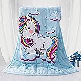 BUZIO Kinder gewichtete Decke 3,2kg, Einhorn Decke für Kinder mit 4 Farboptionen, Ultraweich & Gemütlich Schwere Decke, Toll zum Beruhigen & Schlafen, 105 x 150cm