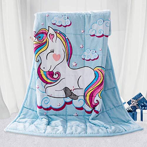 BUZIO Kinder gewichtete Decke 3,2kg, Einhorn Decke für Kinder mit 4 Farboptionen, Ultraweich und Gemütlich Schwere Decke, Toll zum Beruhigen und Schlafen, 105 x 150cm