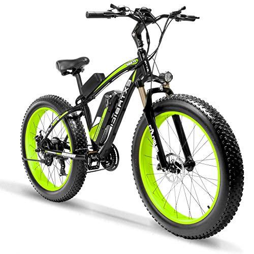 Extrbici XF660 Bicicleta Eléctrica 48V 500W/1000W Fat Bike de Montaña 7/21 Velocidades 26 Pulgadas Marco de Aluminio 4 Pulgadas neumático...