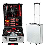 799PCS Tool box, Mechanical Tool kit General Household Hand Tool Sets Trolley Case, Portable House Repair Kit(Silver 38x22x52cm)