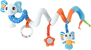 Baby Spiral Wrap Around Crib Hanging Rattles Toy Stroller Car Seat Toy for Toddlers Baby Girls Baby Boy (Elephant)