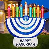 TURNMEON 6 Foot Inflatable Hanukkah Menorah Decorations with LED Lights 6 Stakes 2 Tethers 2 Weight Bags Chanukkah Hanukkah Menorah Blow Up Decorations Outdoor Indoor Yard Garden Lawn Home Party