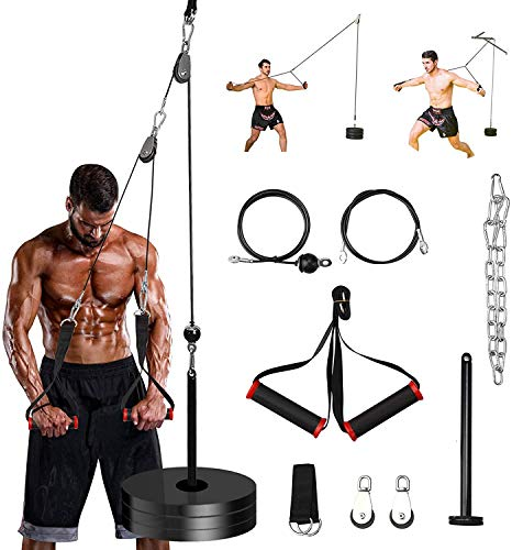 PELLOR Fitness LAT and Lift Pulley System, Forearm Wrist Weight Pulley Cable Machine for Home Gym Fitness Equipment, Arm Strength Exerciser for Triceps Pull Down, Biceps Curl, Back, Shoulder